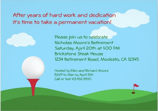 Marvelous Golf Retirement Party Flyer