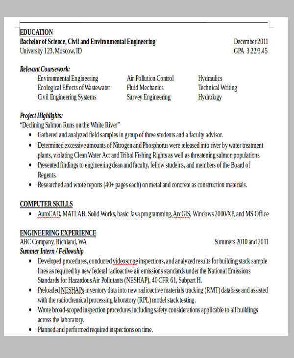 civil construction engineer resume sample