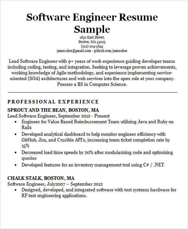software engineering resume format1