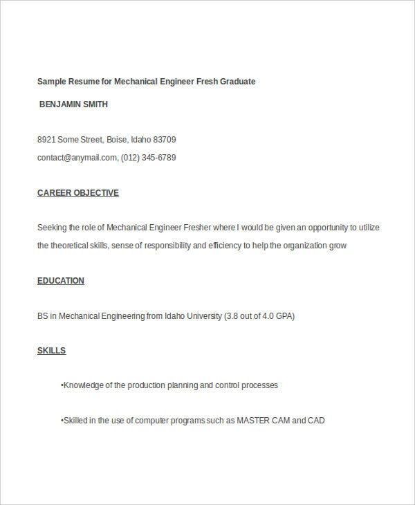 mechanical engineering fresher resume - Sample Resume For Mechanical Engineer Fresh Graduate
