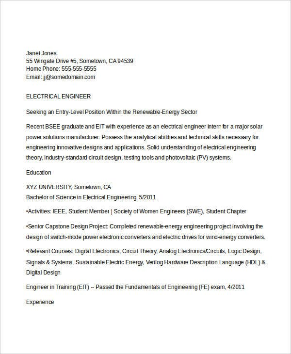 electrical engineering student resume5
