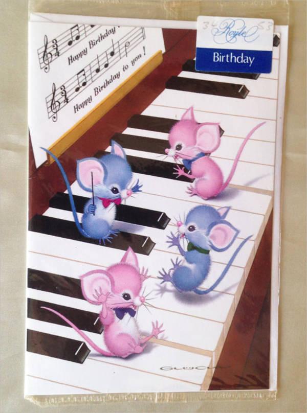 vintage musical birthday card