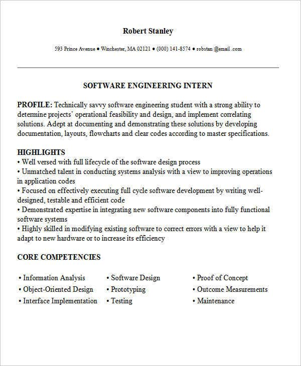 sample engineering internship resume resume cv cover letter - Resume Template Cover Letter