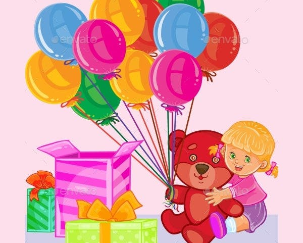 colorful balloon kids birthday card