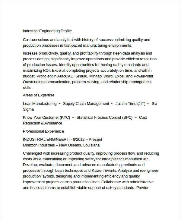 industrial engineering resume sample - Industrial Engineer Resume New Section