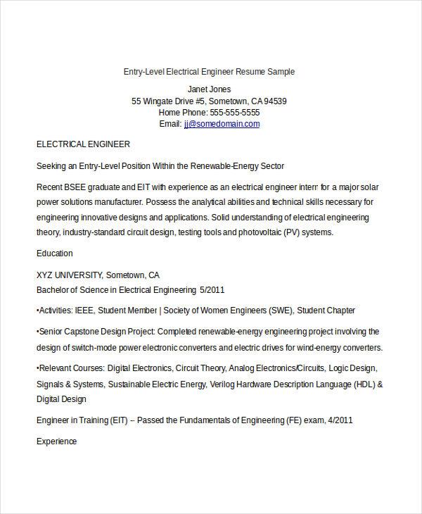 electrical engineer resume sample doc experienced
