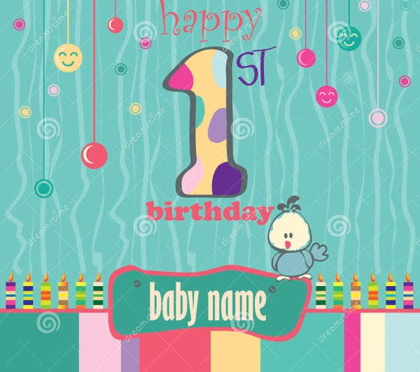1st birthday greeting card2