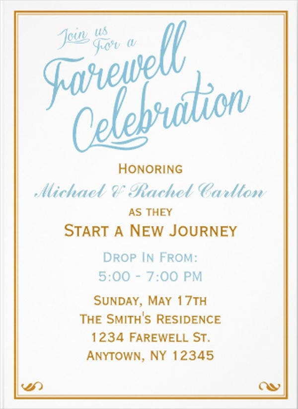 Farewell Invitation Card Template Image Gallery - Hcpr