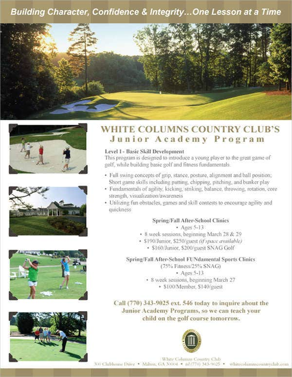 golf fitness program flyer2
