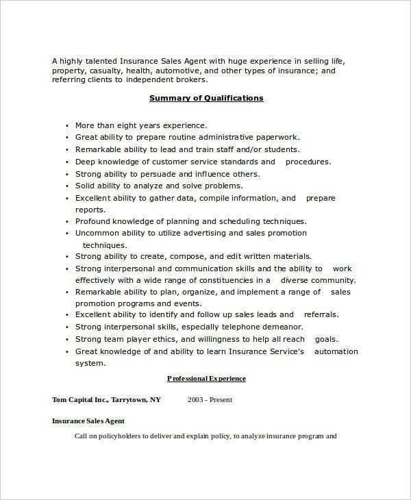 insurance sales agent resume4