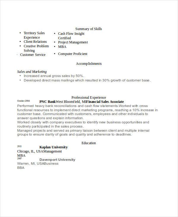 banking sales associate resume - Banking Sales Resume