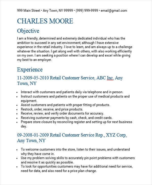 retail customer service sales resume4