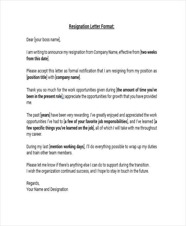 8 Standard Resignation Letter Templates Free Word Pdf