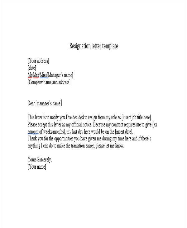 Short Resignation Letter Templates  Free Word Pdf Format