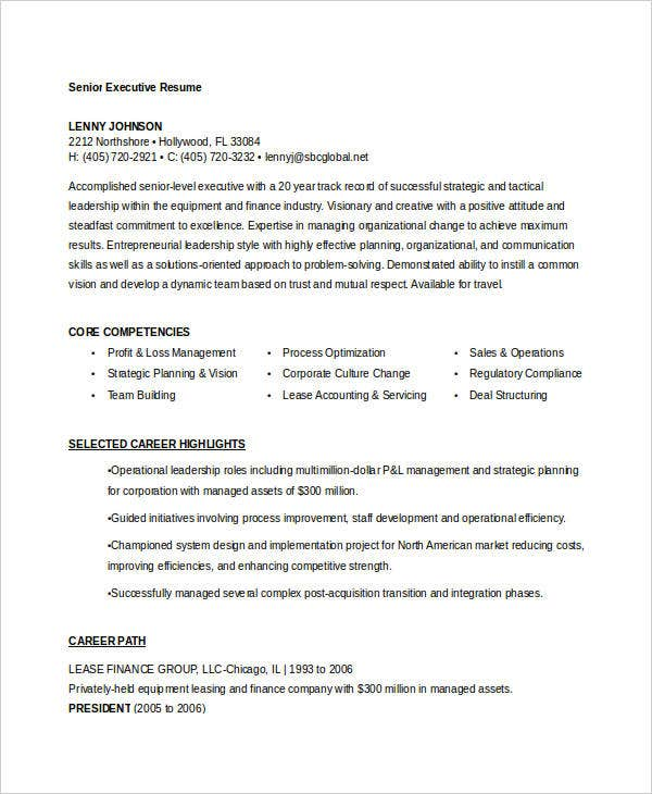senior executive resume sample4