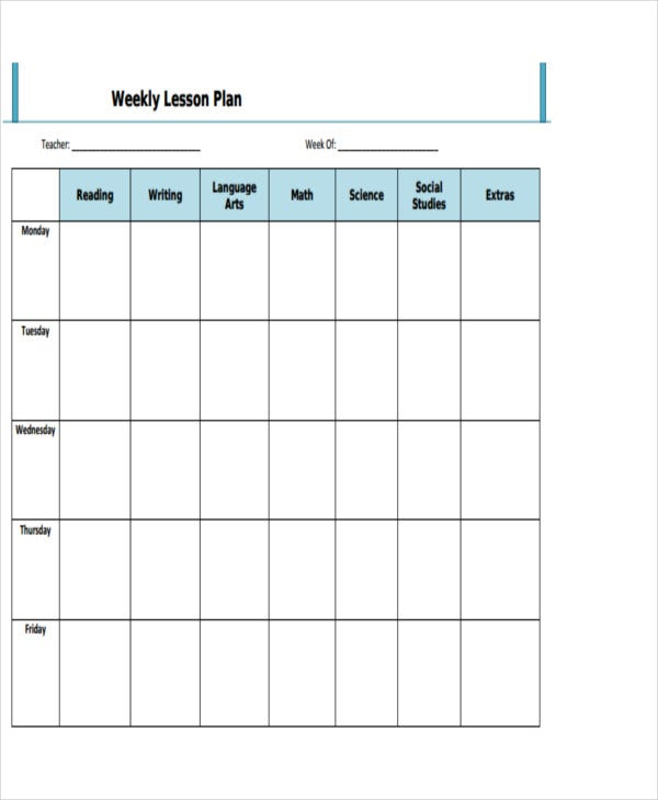 weekly lesson plan format1