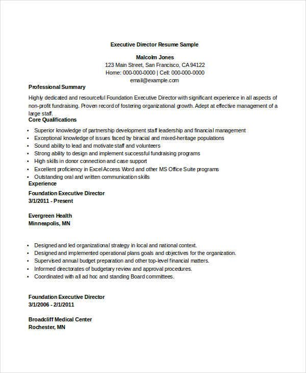 sample executive director resume project management director