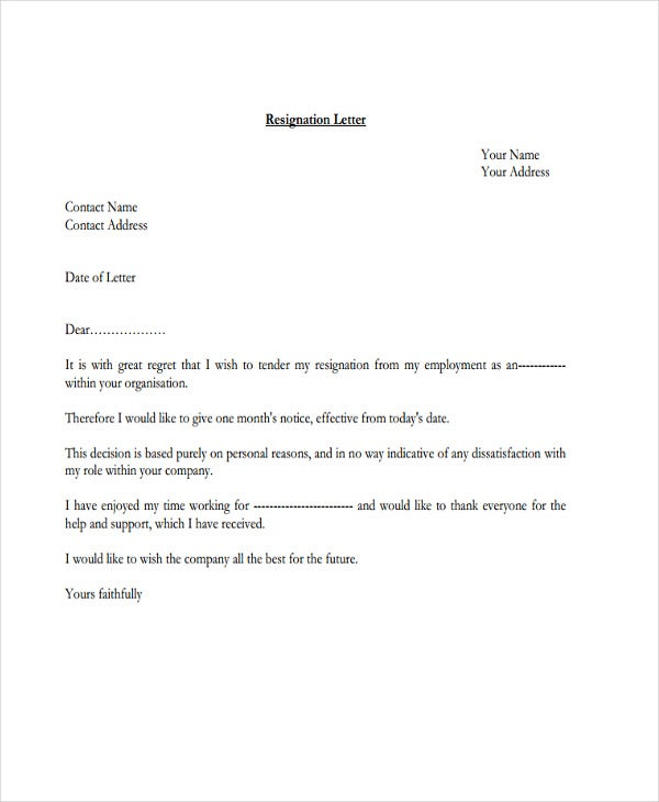 official job resignation letter1