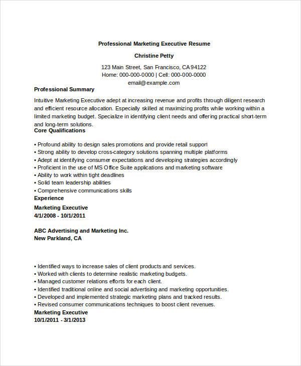 Professional Marketing Executive
