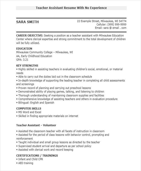 teacher assistant resume with no experience3