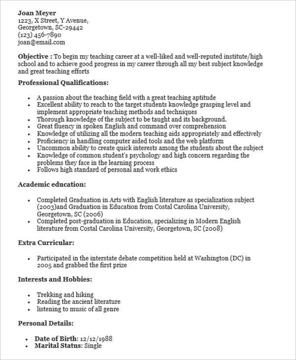 Sample Teacher With No Experience  Great Teacher Resumes