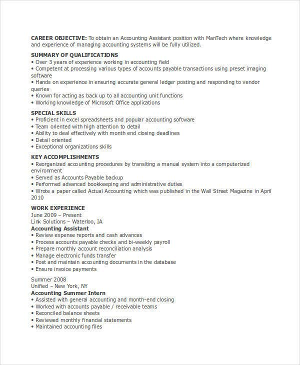assistant accountant experience resume2