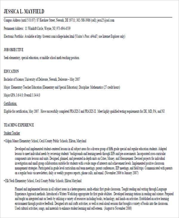 free sample resume for teacher2