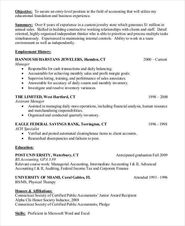 entry level accounting resume objective