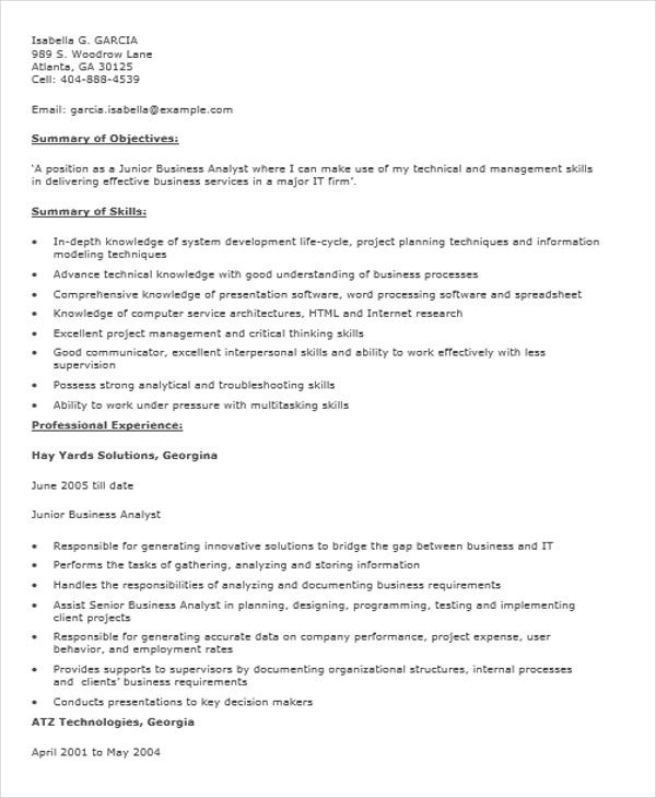 business analyst fresher resume