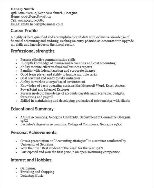 Resume For Freshers Accountant