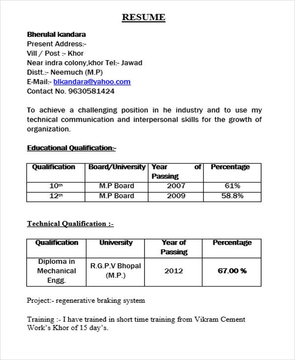 Resume Format For Diploma Mechanical Engineer Fresher - Gse
