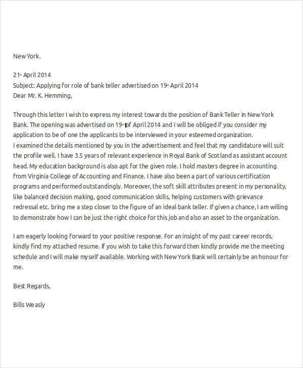 Bank Teller Cover Letter Samples For Resume: Sample Of Application Letter For Bank Teller