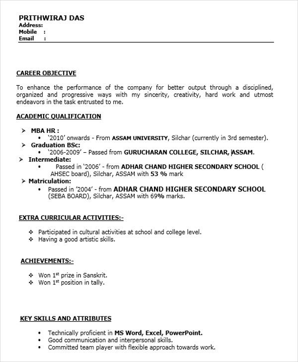 Resume Format for MBA Finance Fresher