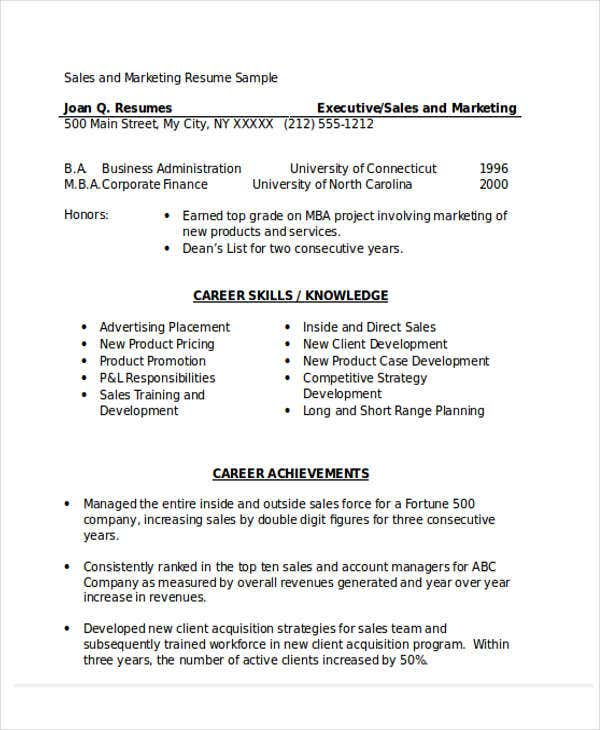 sales and marketing executive resume9