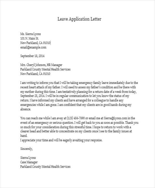 Sample For Leave Application  Application Letter Samples Free