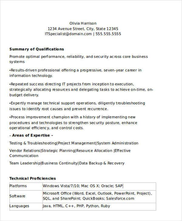 sample professional it resume3