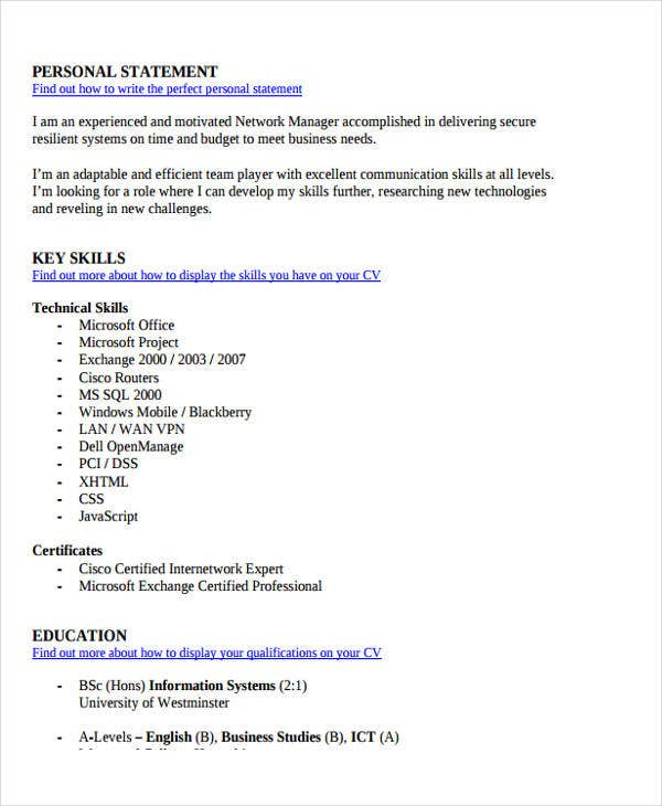 it networking manager resume5