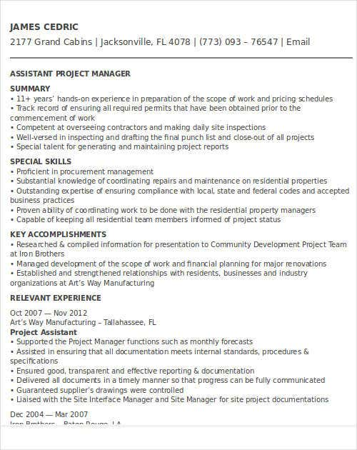 assistant it project manager resume3