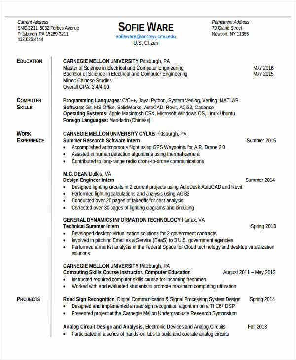 31 Professional Engineering Resume Templates PDF DOC Free