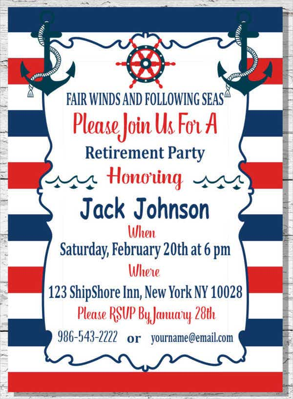 Nautical Retirement Invitation Flyer