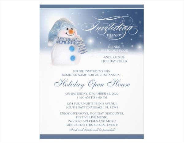 open house holiday invitation flyer