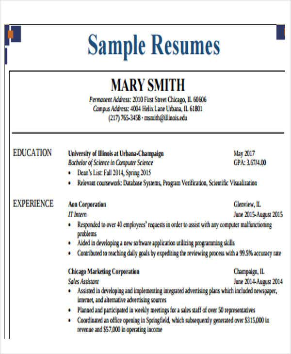 35  free business resume templates