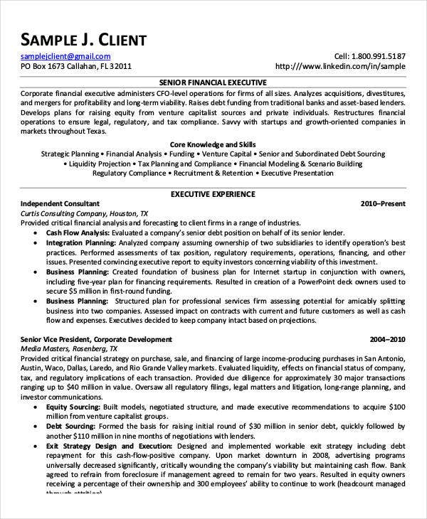 Senior Financial Executive Resume Example  Financial Modeling Resume