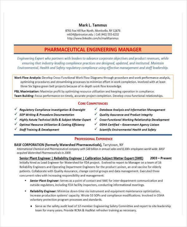 engineering manager example - Engineering Manager Resume