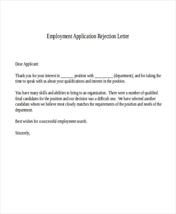 employment application rejection letter1