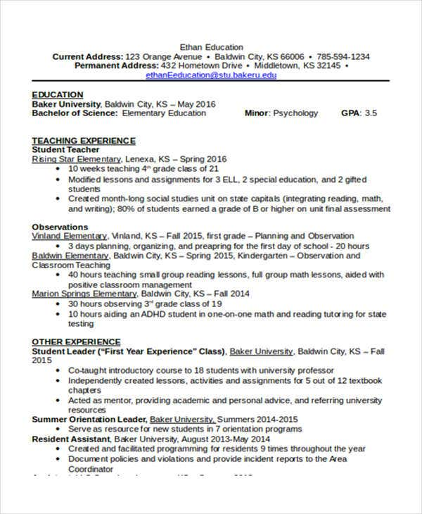 29 Basic Teacher Resume Templates Pdf Doc: 15+ Basic Education Resume Templates - PDF, DOC