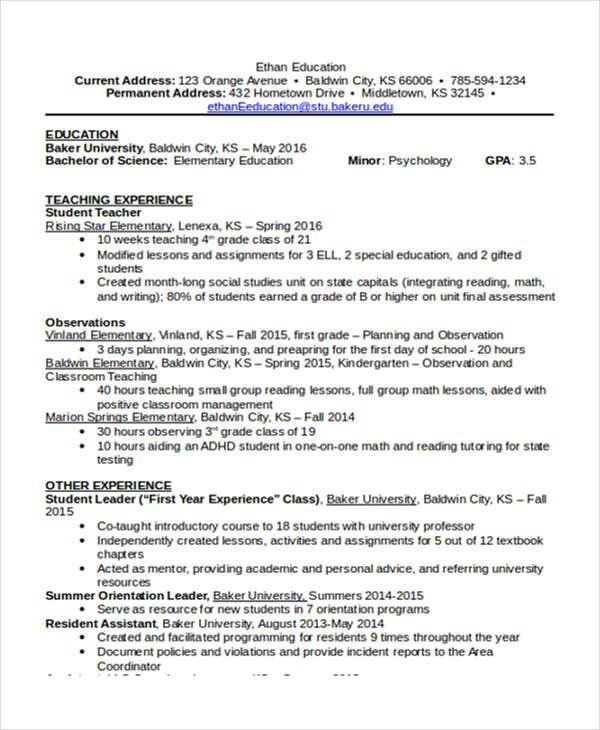 Resume in education examples altavistaventures Images