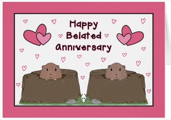belated anniversary greeting card