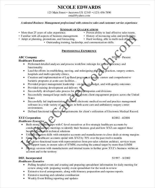 Senior Healthcare Executive Resume