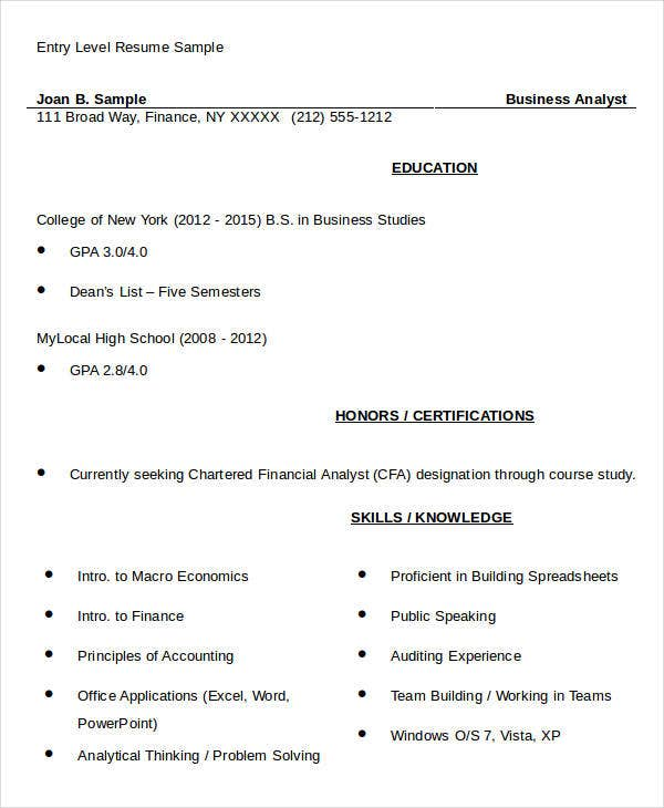 Sample Entry Level Business Resume